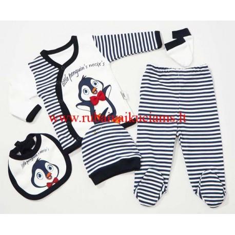 5 dalių komplektas kūdikiui Pingvinas